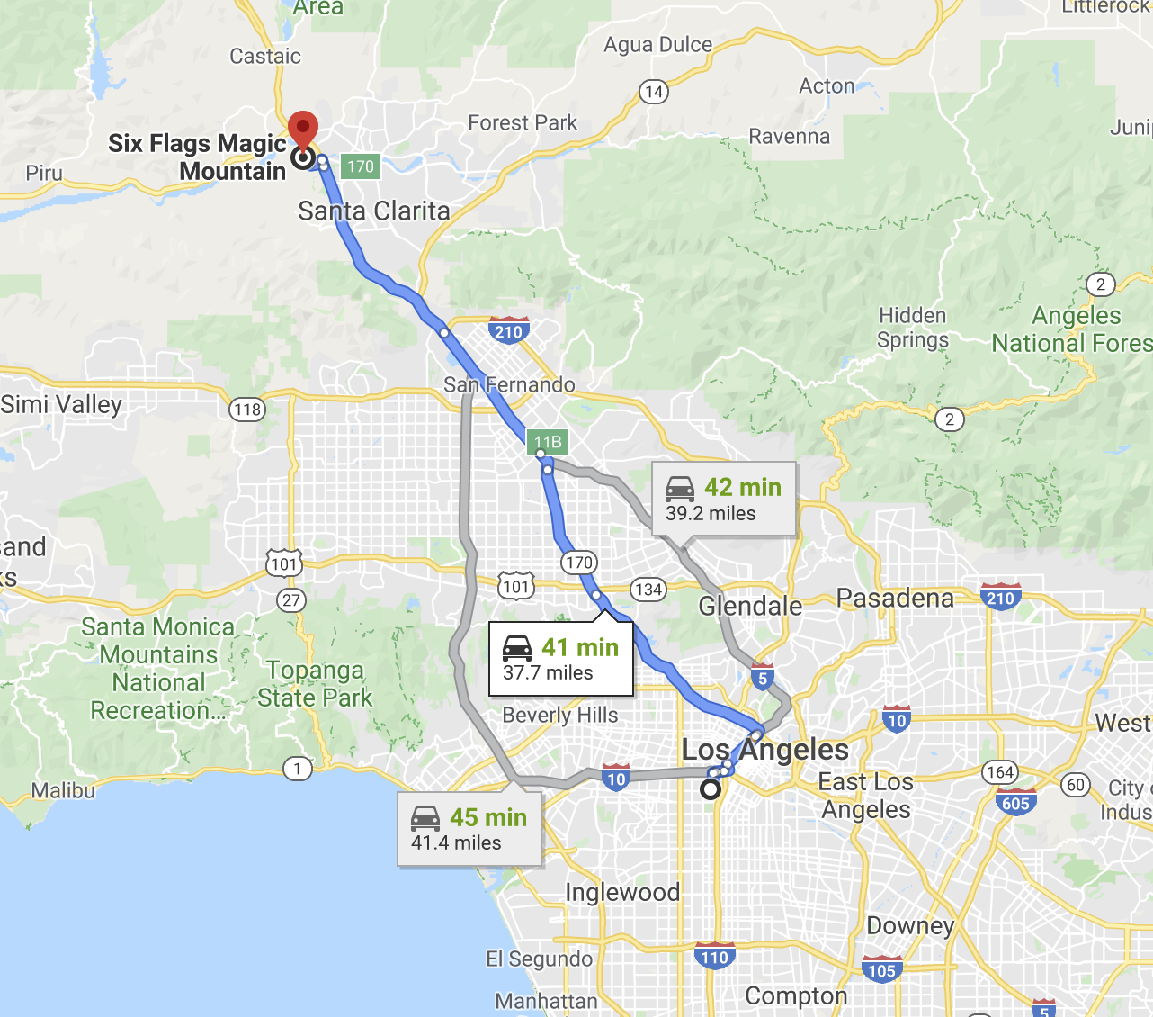 Direction to Six Flags CA