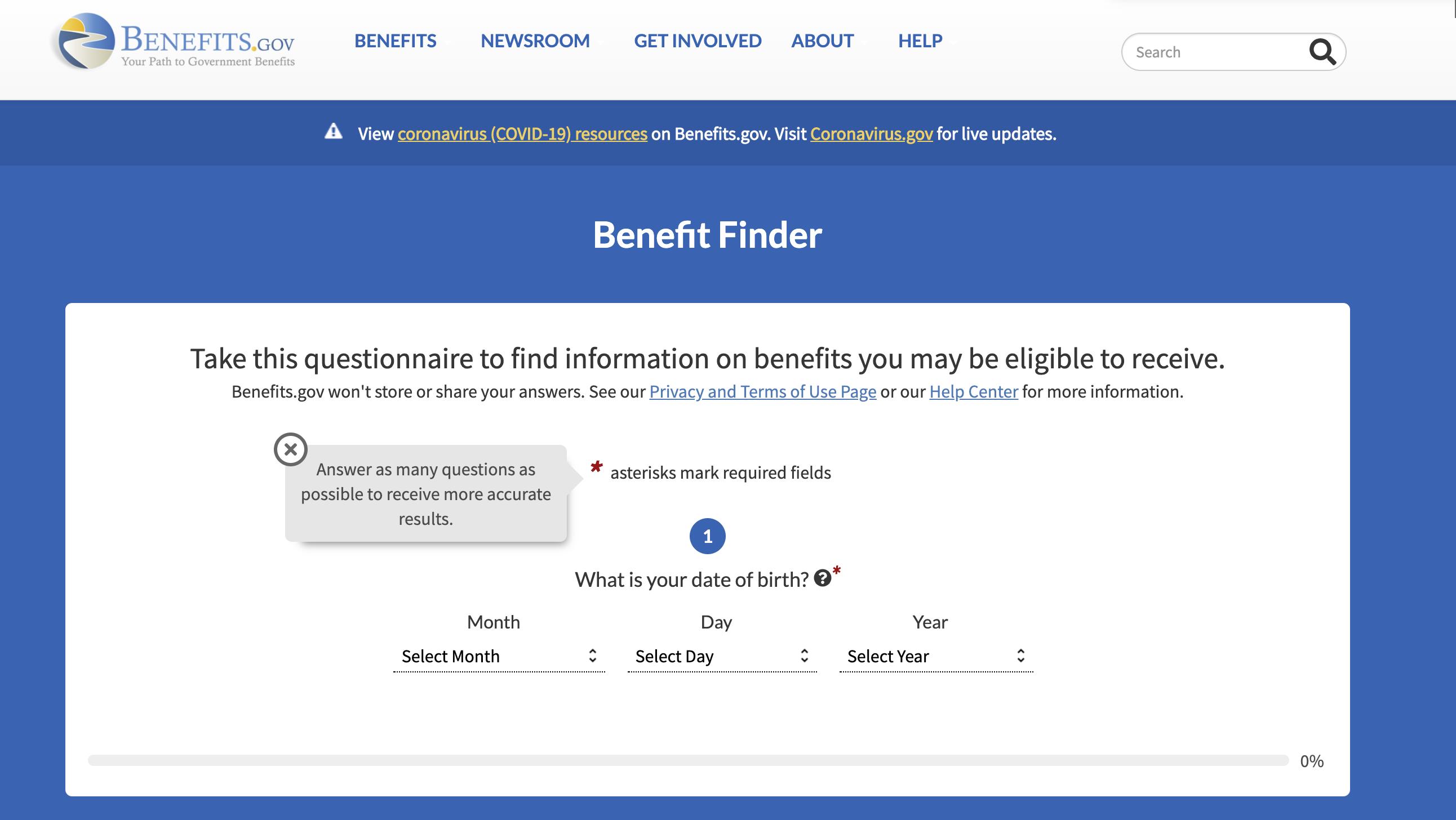 Benefit Finder of Benefit.Gov