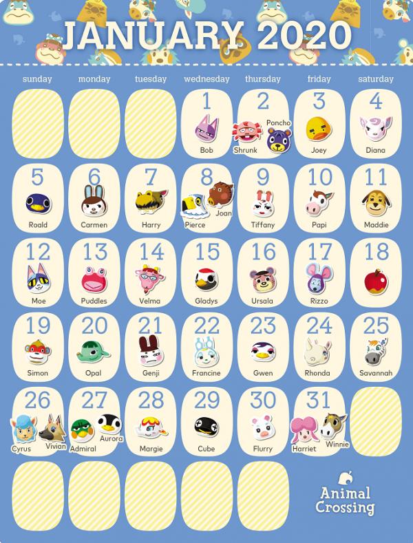 动物森友会居民1月生日日历