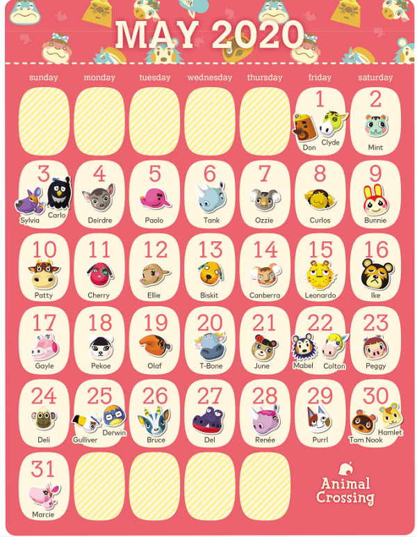 动物森友会居民5月生日日历