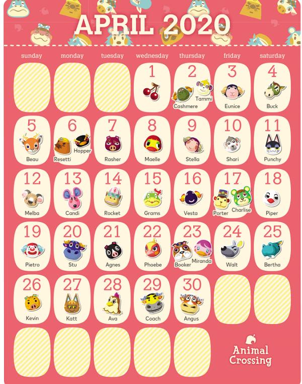 动物森友会居民4月生日日历