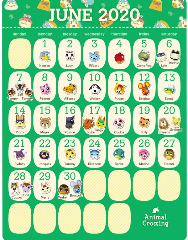 动物森友会居民6月生日日历