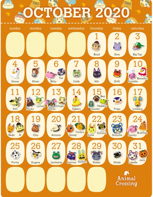 动物森友会居民10月生日日历