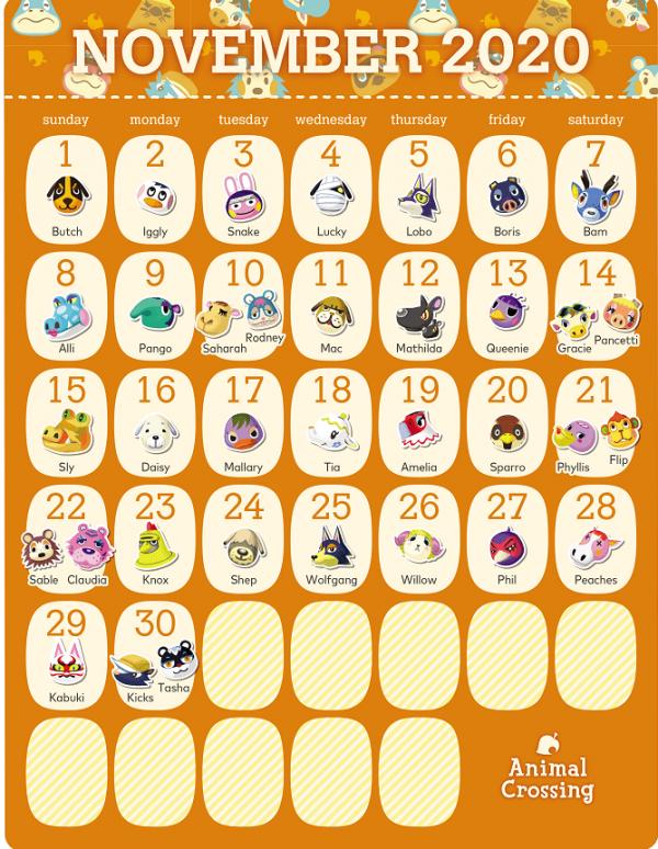 动物森友会居民11月生日日历
