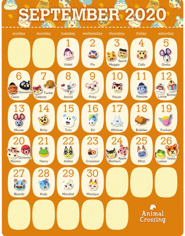 动物森友会居民9月生日日历