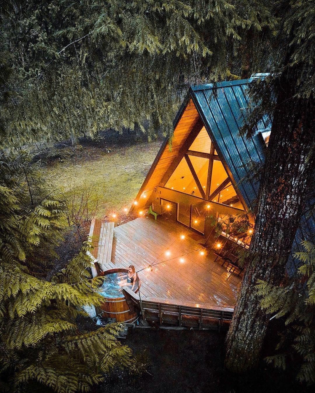 A-frame with hot tub