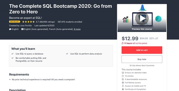 The Complete SQL Bootcamp 2020: Go from Zero to Hero