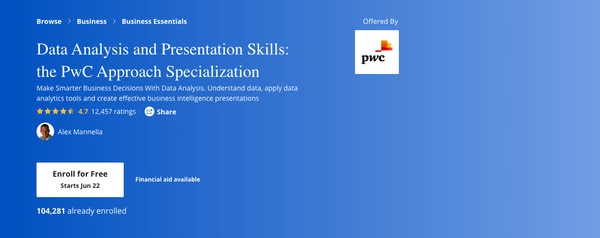 Data Analysis and Presentation Skills: the PwC Approach Specialization