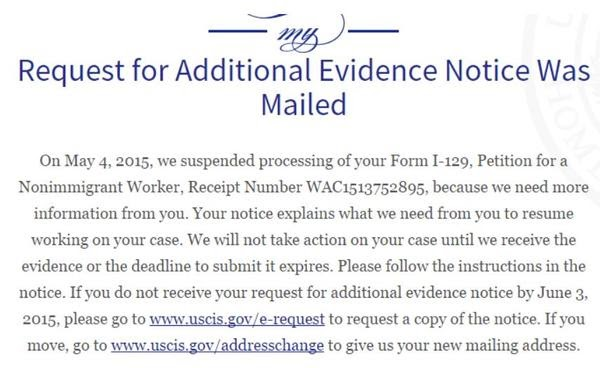 request for additional evidence notice