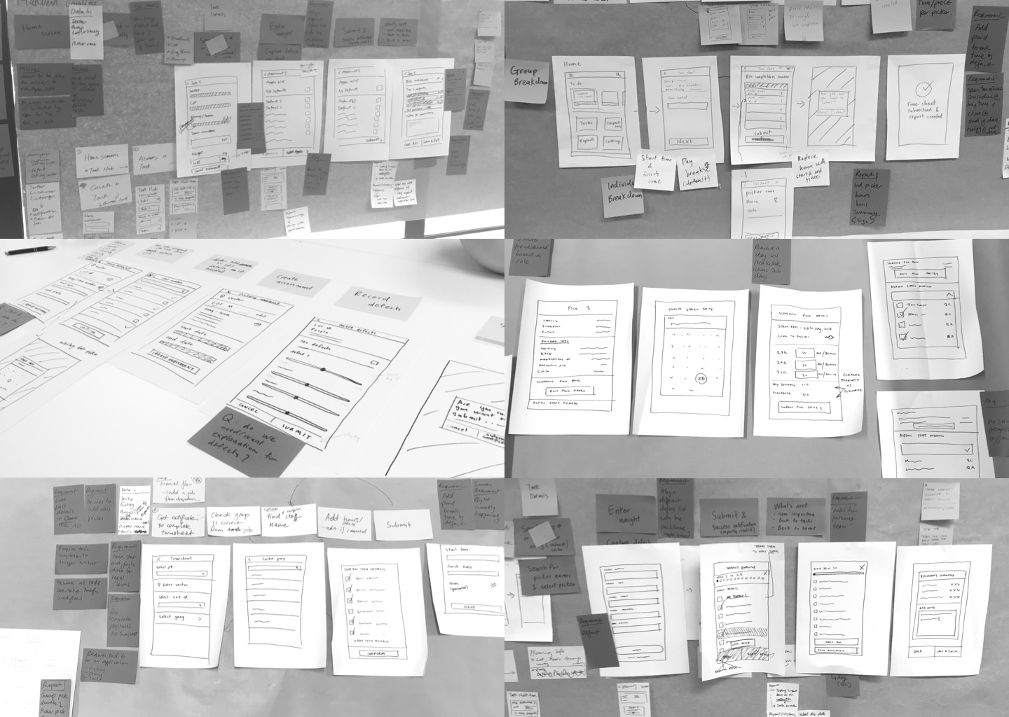 Photo collage of hand-drawn wireframes