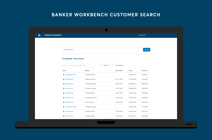 Customer search interface of Banker Workbench