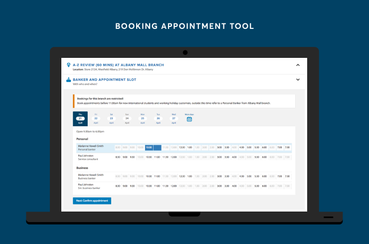 Appointment booking interface of Banker Workbench