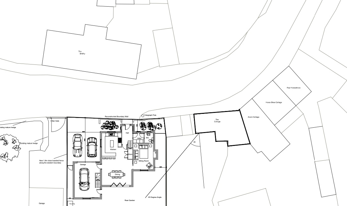 Application for a new 4-bedroom house and garage in Main Street, oppposite the Smithy