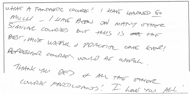 an image of a hand written evaluation
