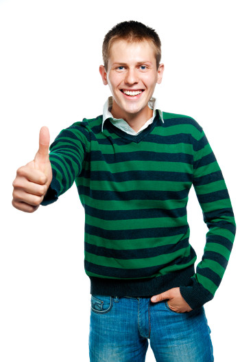 man with thumbs up smiling
