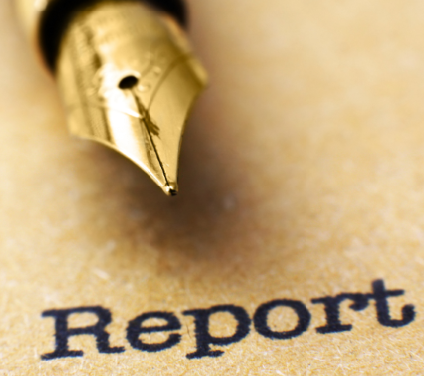image of a pen on a page with the word report