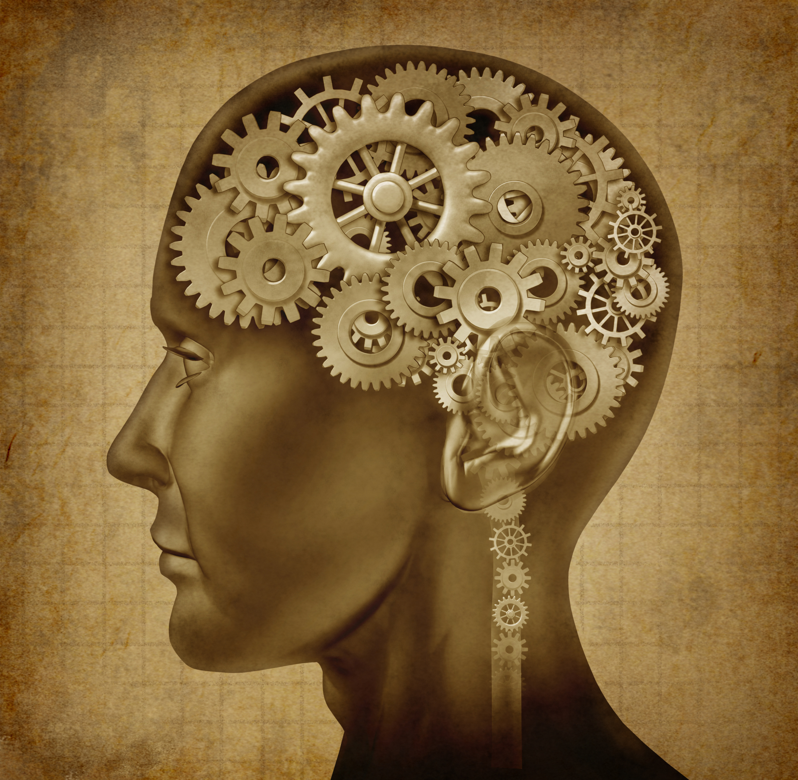 dicpiction of 2 faces with brain like cog wheels and gears
