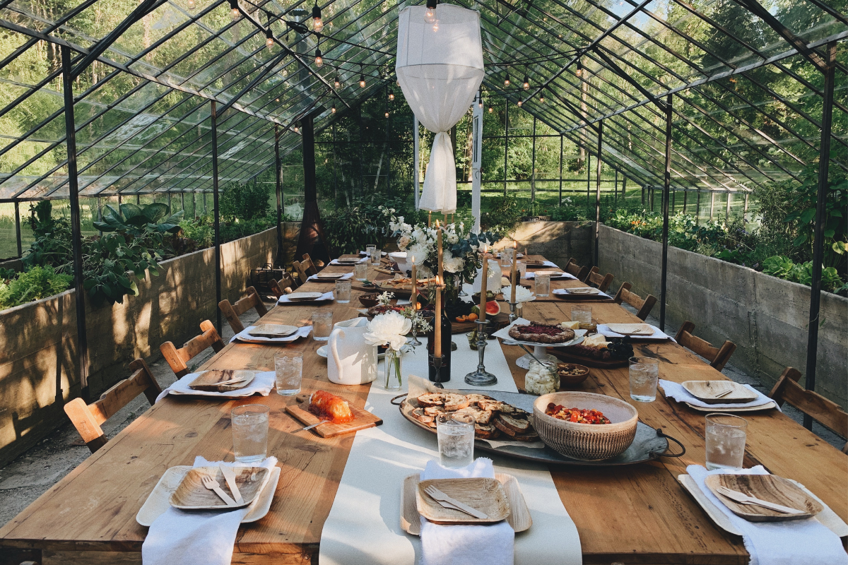 glass house spring tablescape