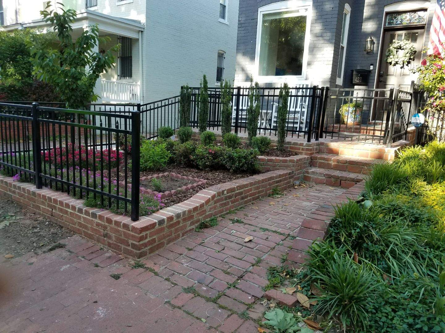 4ft Ornamental Wrought Iron Fence in Brick Wall in Washington DC