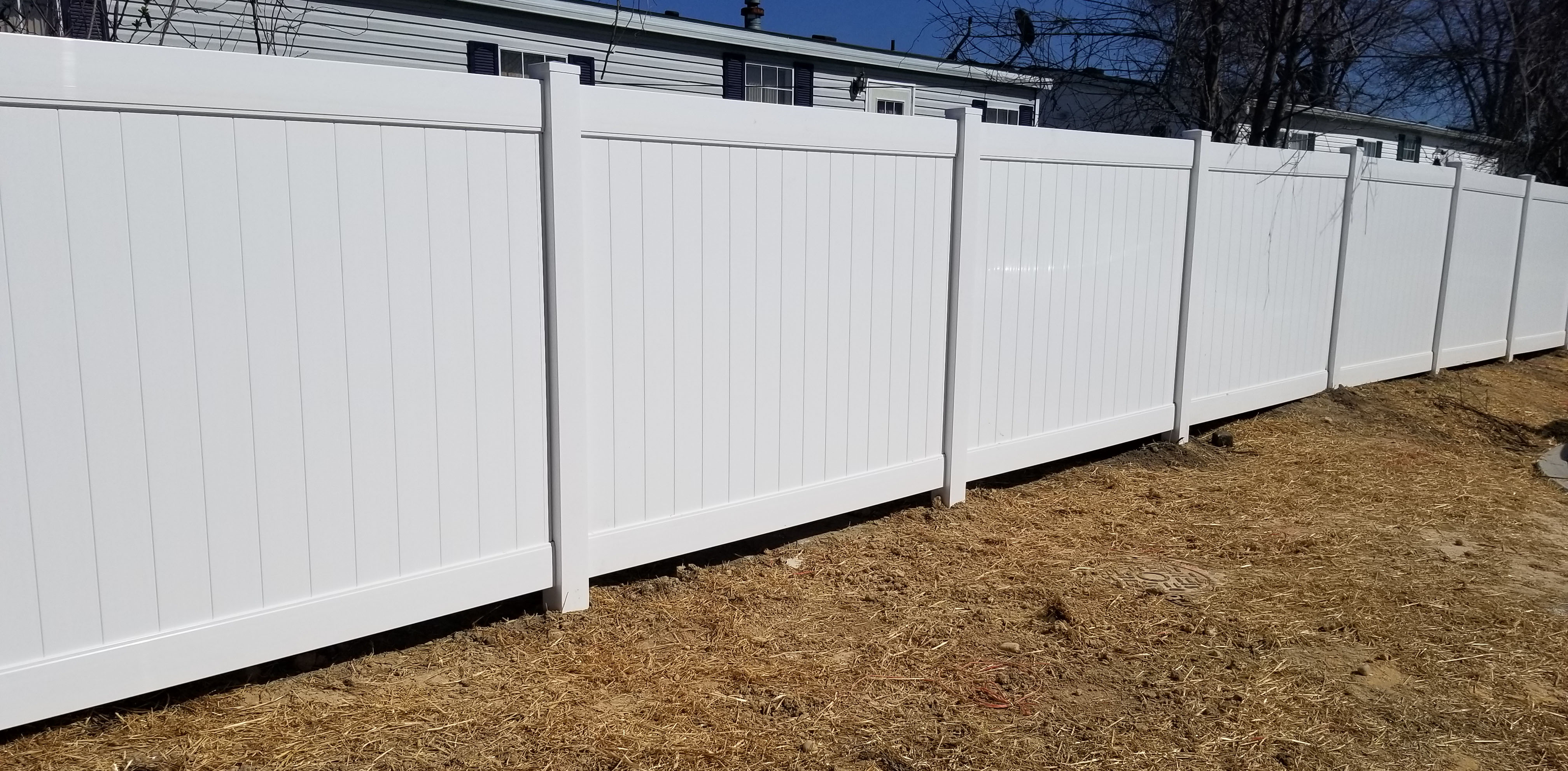 8ft Commercial White Vinyl PVC Estate Privacy Fence With Outside Pyramid Post Caps In Laurel MD