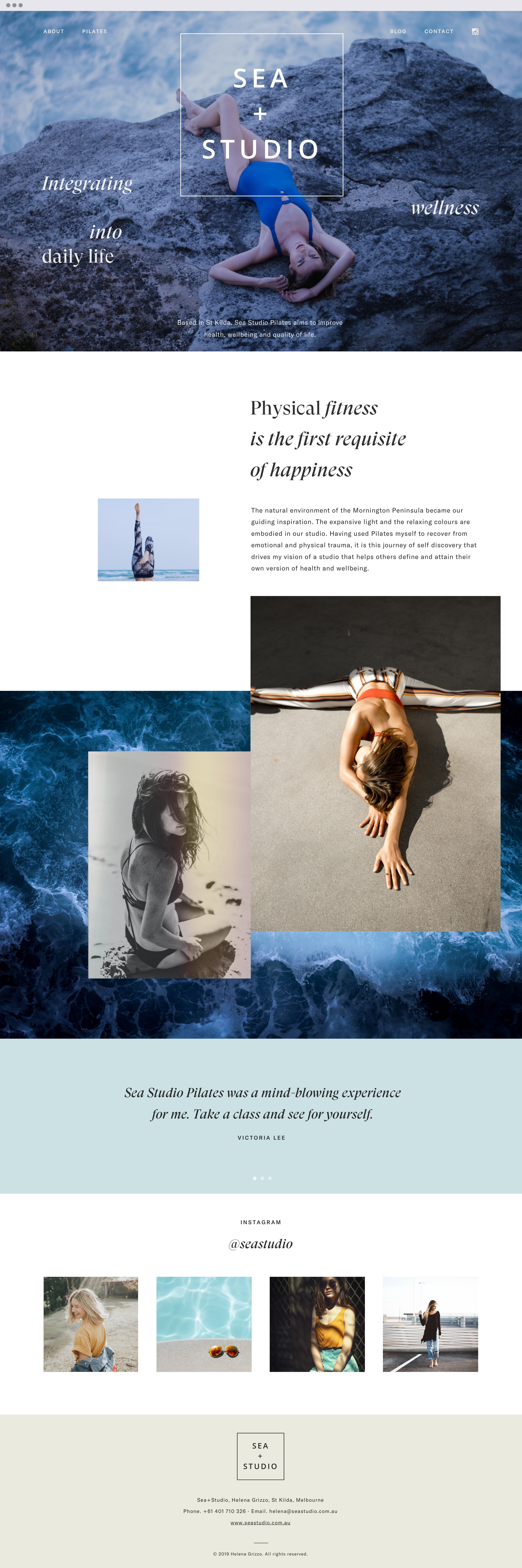 Webdesign for a pilates studio by the sea