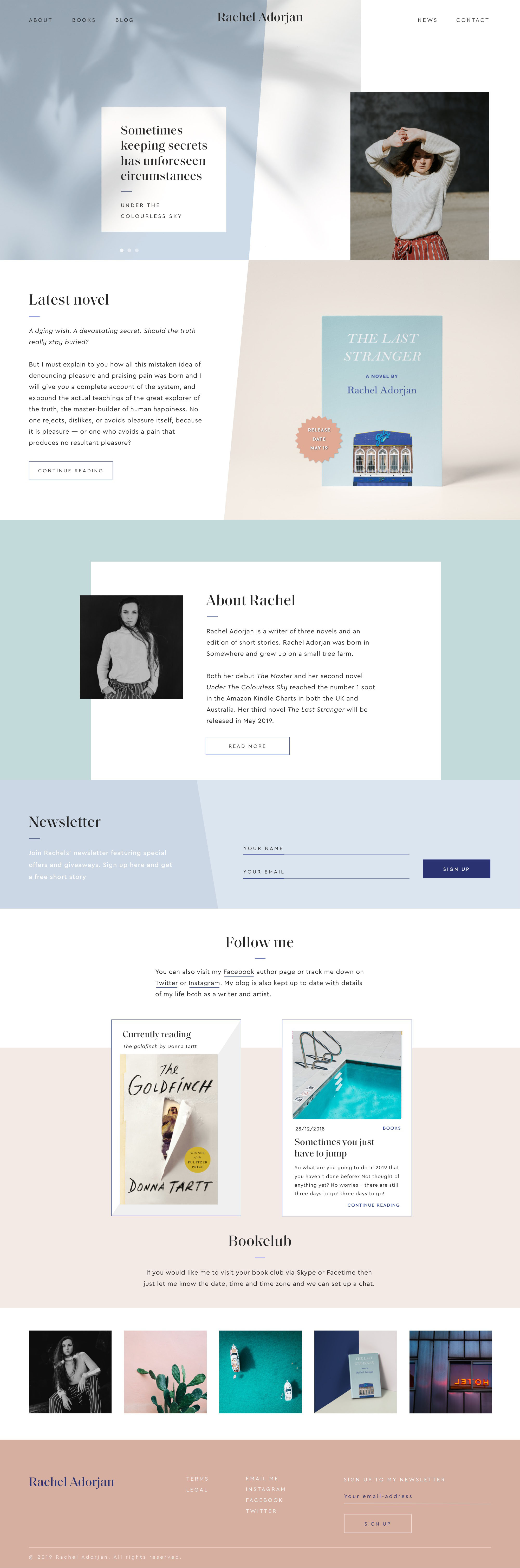 Homepage website design for a british writer