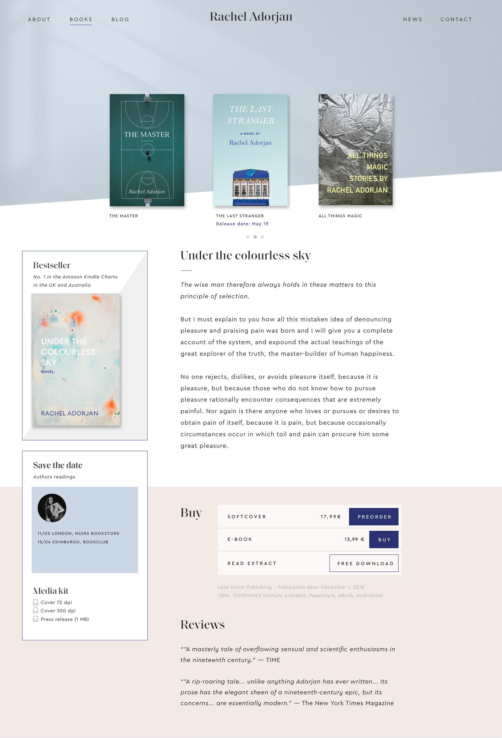 Book overview page, webdesign for an author