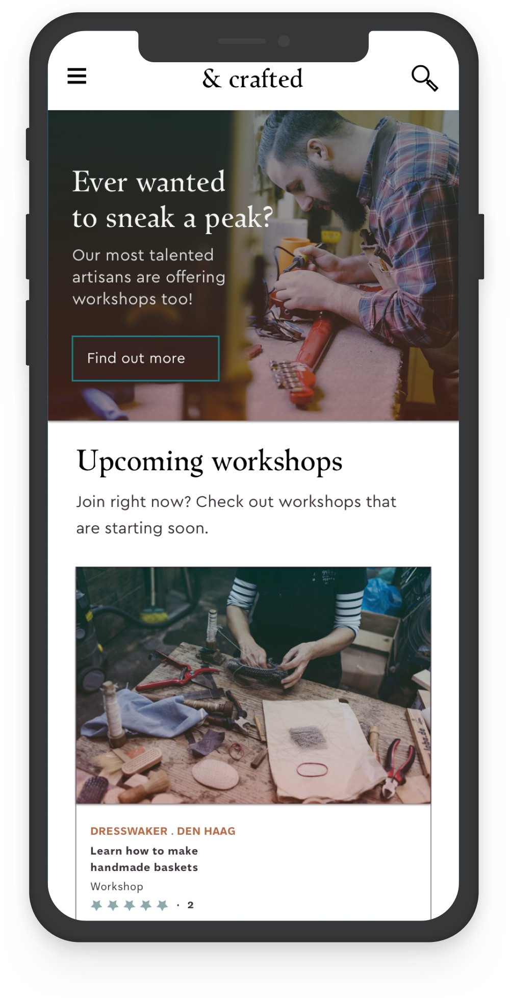 Mobile view of webdesign case study for crafts platform