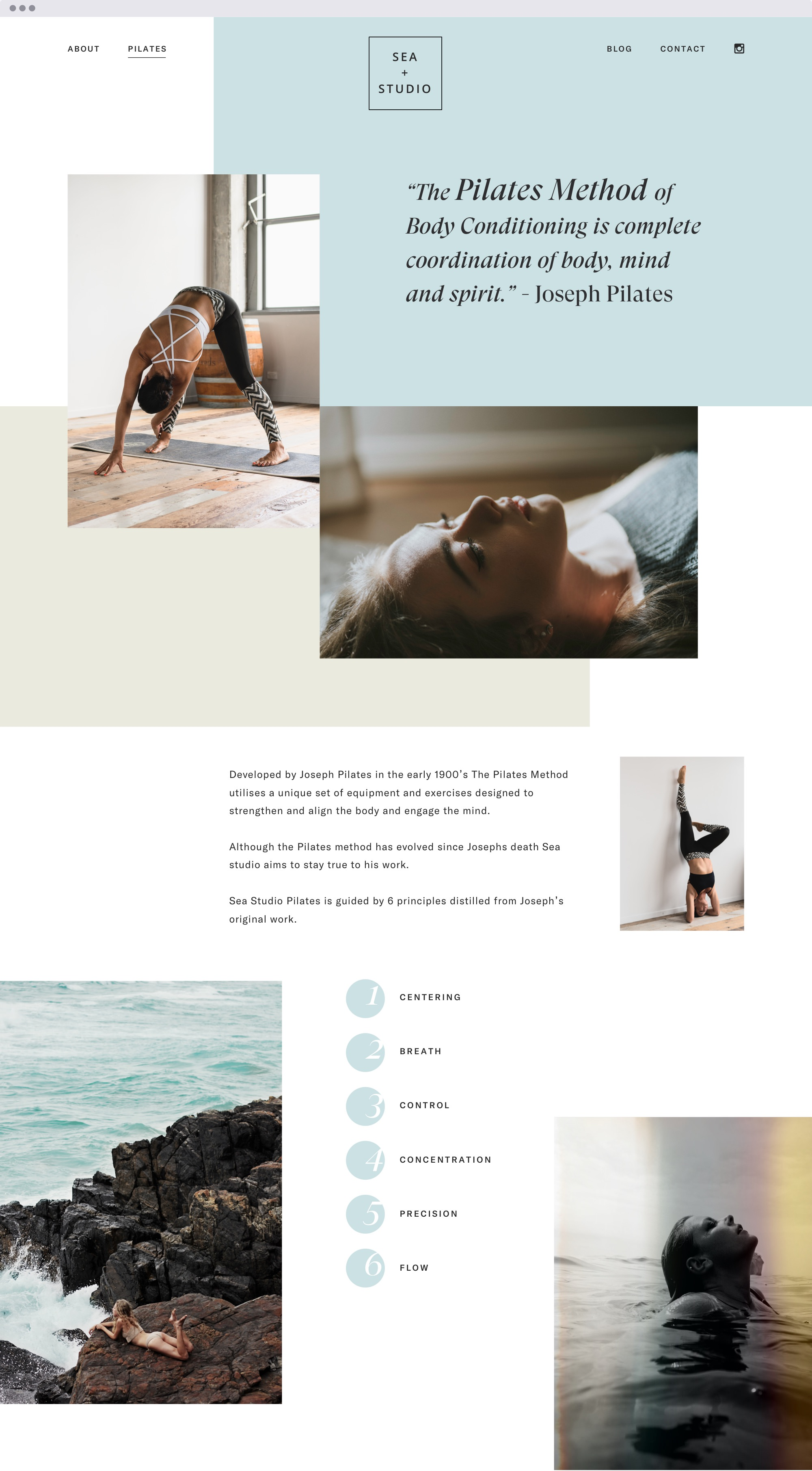 Pilates site of a webdesign proposal for a yoga studio