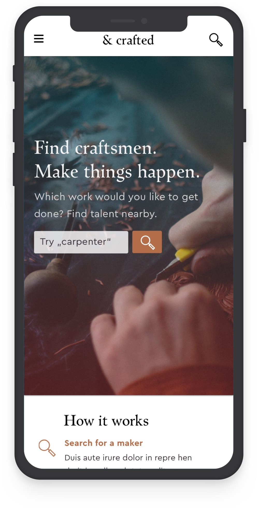 Mobile webdesign case study for crafts platform