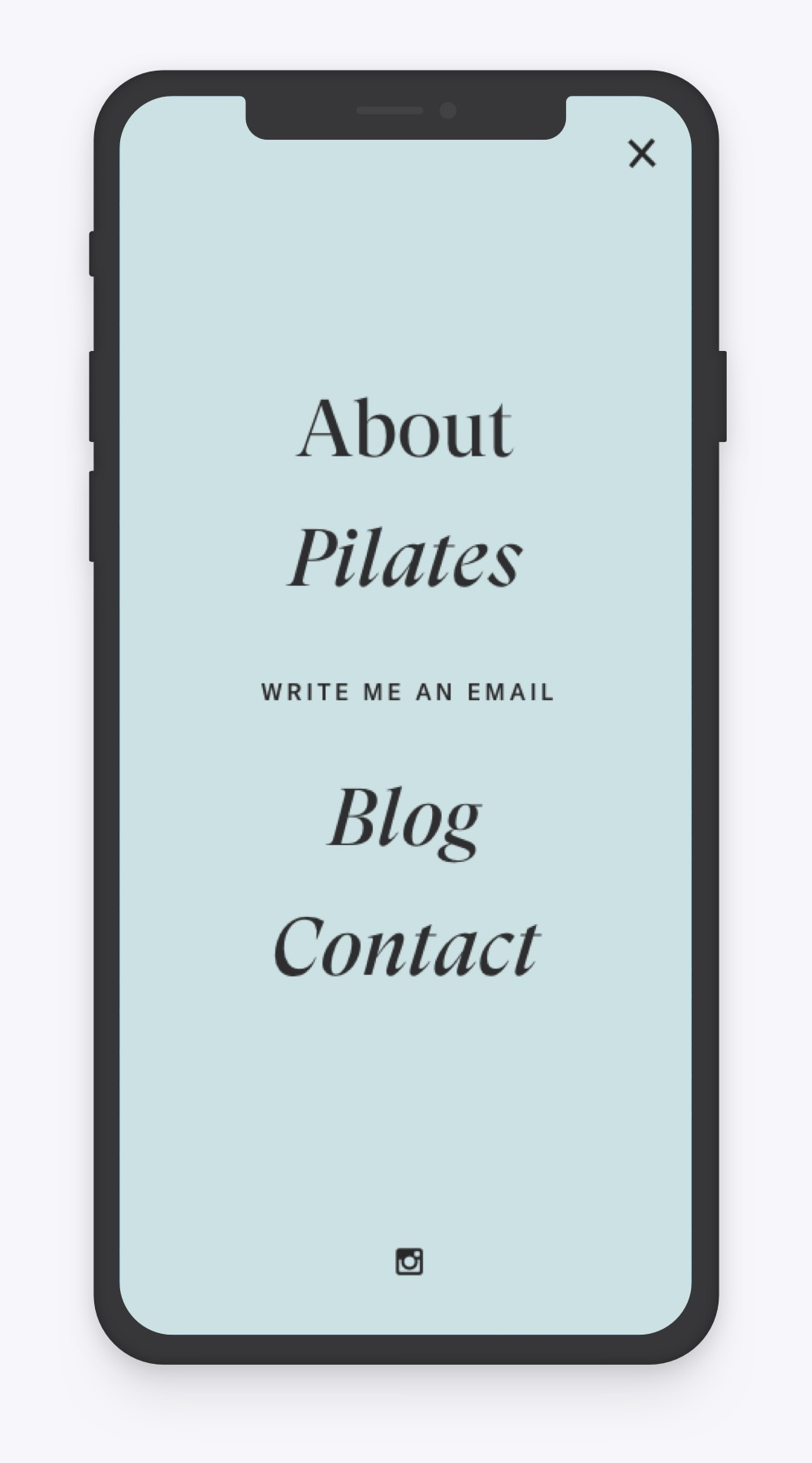 Mobile menu view of webdesign proposal for pilates studio