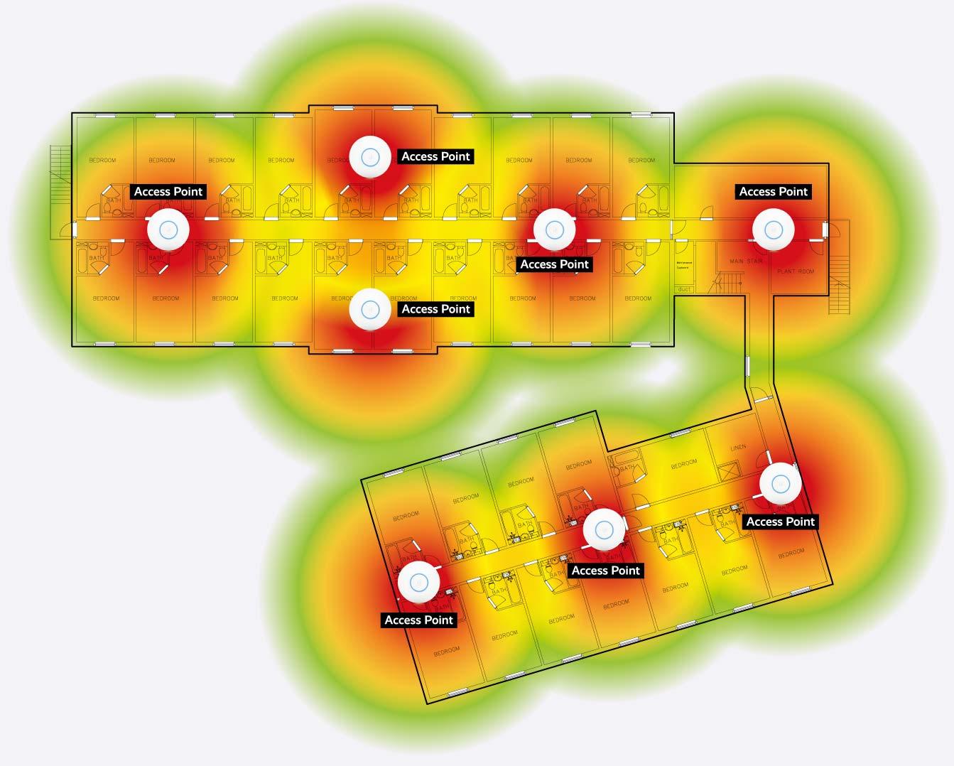 Hotel guest wifi network survey heatmap