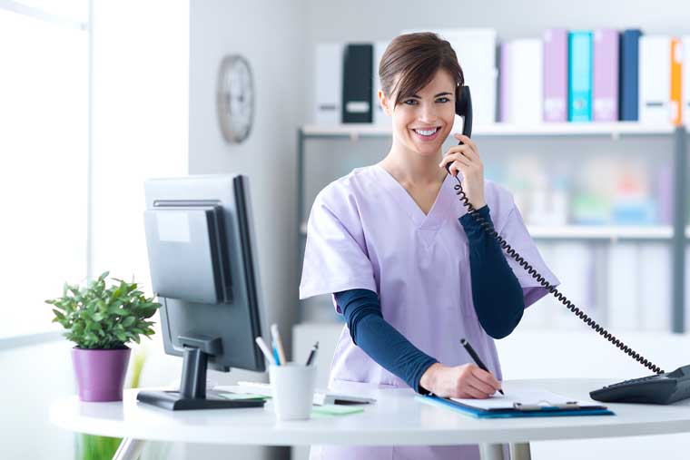 Doctor on telephone system