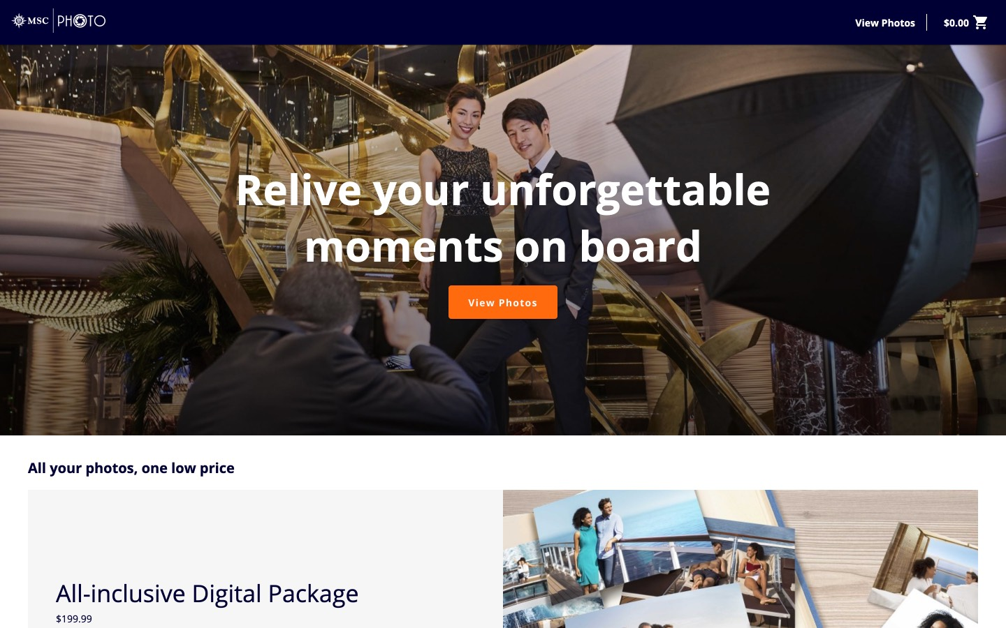 A screenshot of the My MSC Photos home page showing a photo of a couple getting their picture taken on a cruise ship.