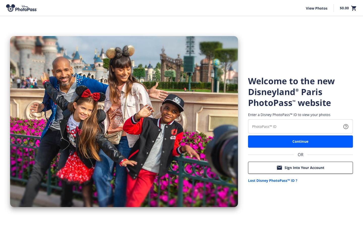 A screenshot of the Disneyland Paris website home page showing a sign in form and a photo of a family getting their picture taken at the park.
