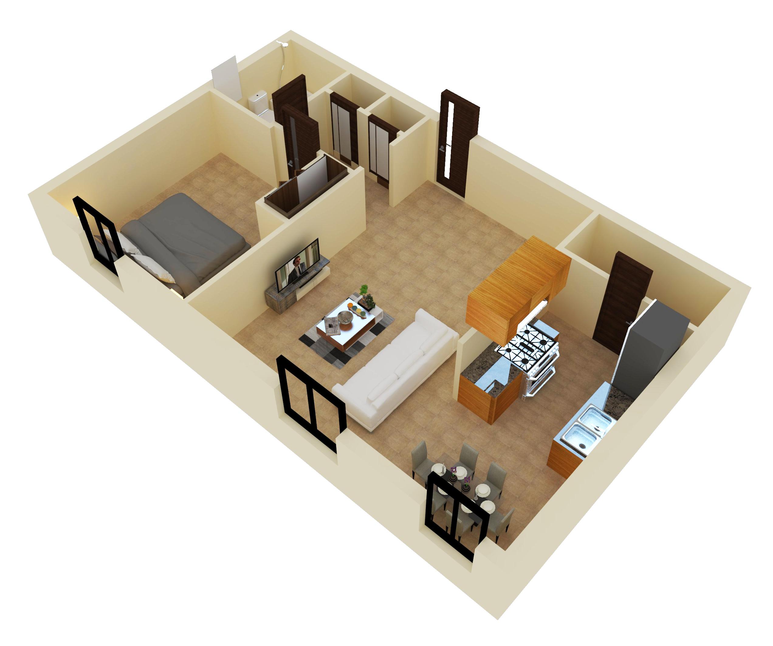 1 Bedroom Floor Plan at Bethel Estates