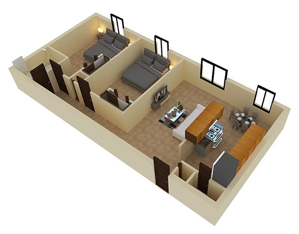 2 bedroom floor plan at Bethel Estates