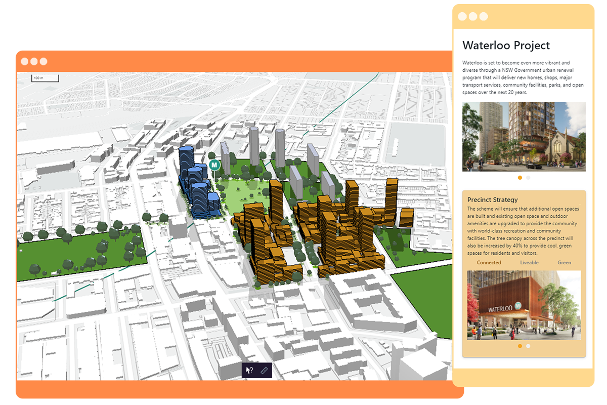 3d architecture map with engagement features and storytelling capability