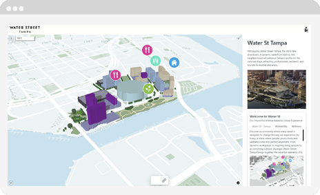 Screen of Giraffe's Places product, showcasing a city development plan.