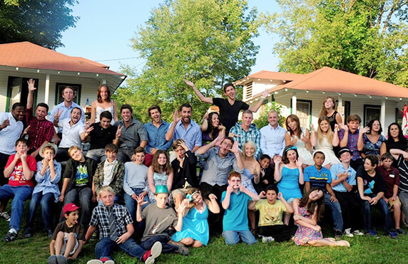 large group photo of camp america special needs counsellors and campers