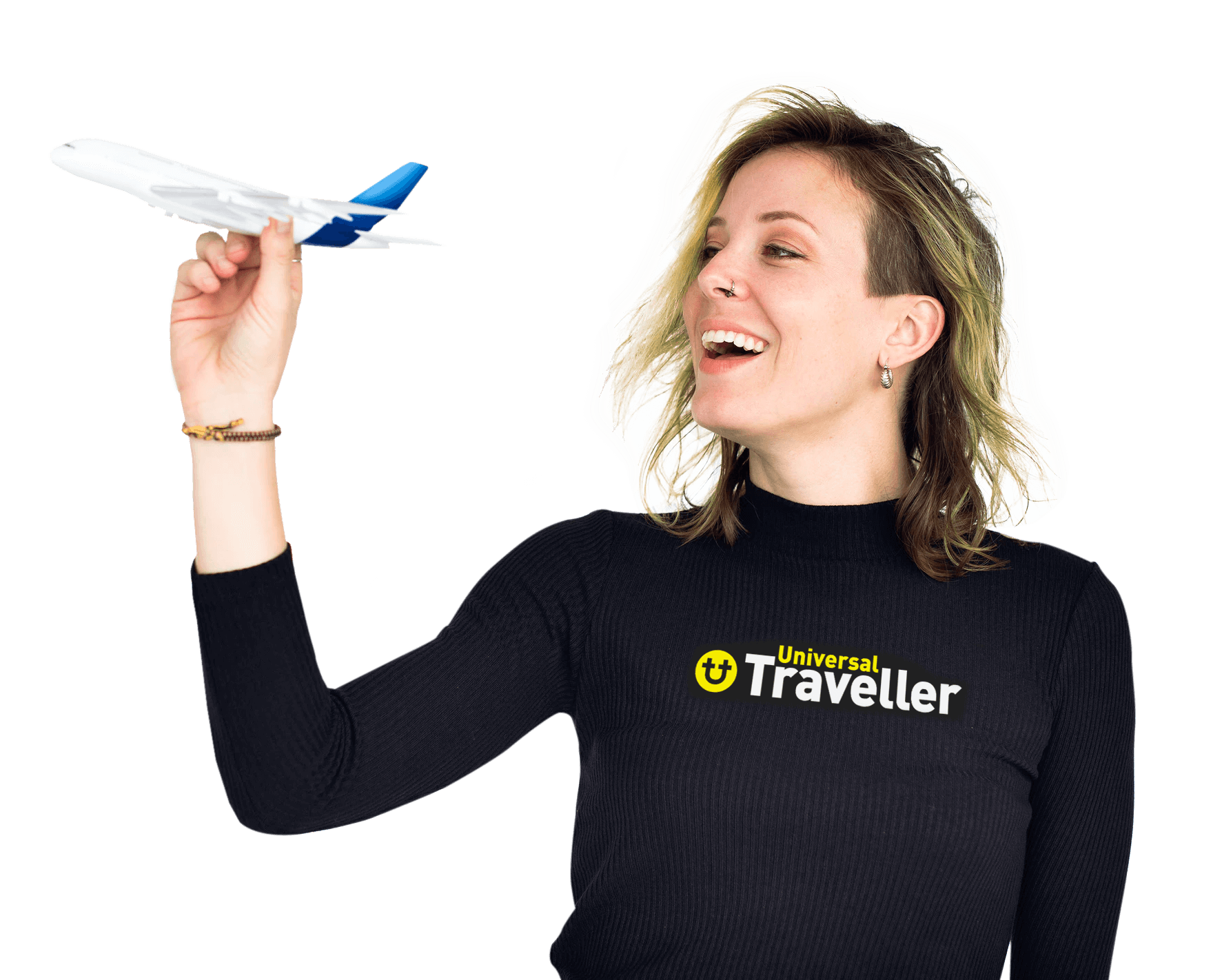 universal traveller team member holding a toy aeroplane