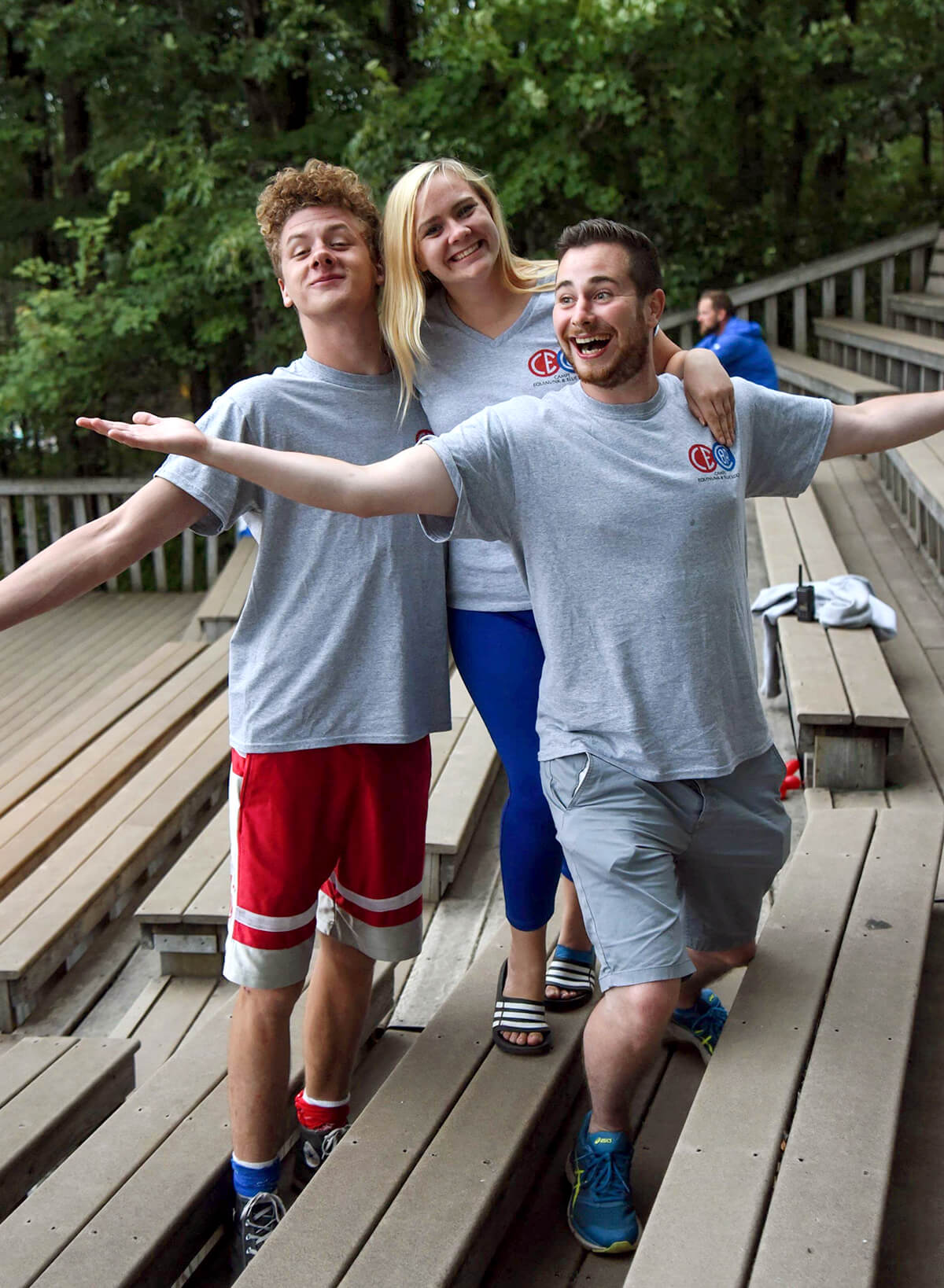 three camp america counsellors posing for a photo