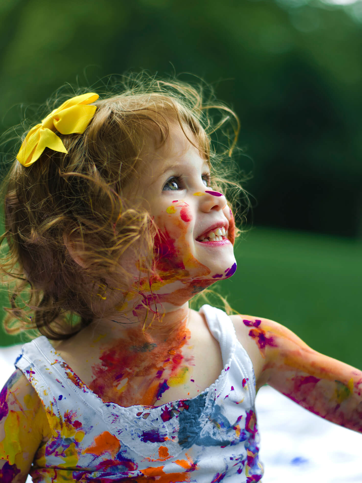 kid covered in paint