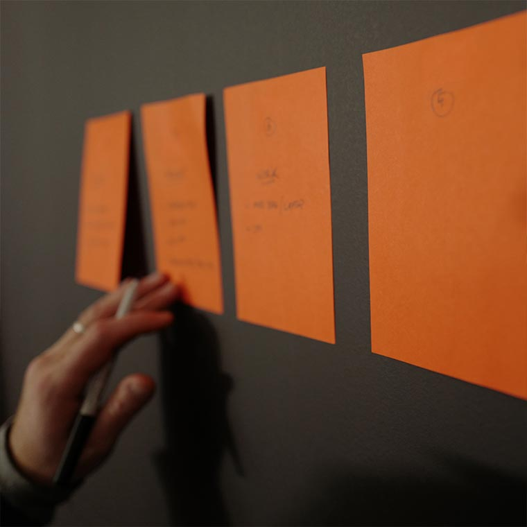 Concept development with sticky notes for video advertisement