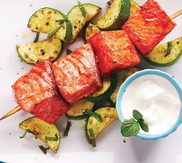 Salmon Skewers to lower Blood Pressure