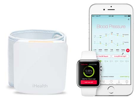 FDA-approved BP monitor with Hello Heart app on iPhone and Apple Watch