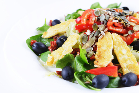 Eat salad with nuts or seeds not croutons to reduce BP and reduce stress