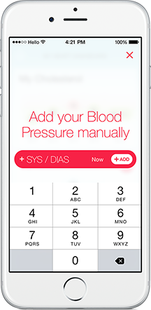Manually type in your Blood Pressure
