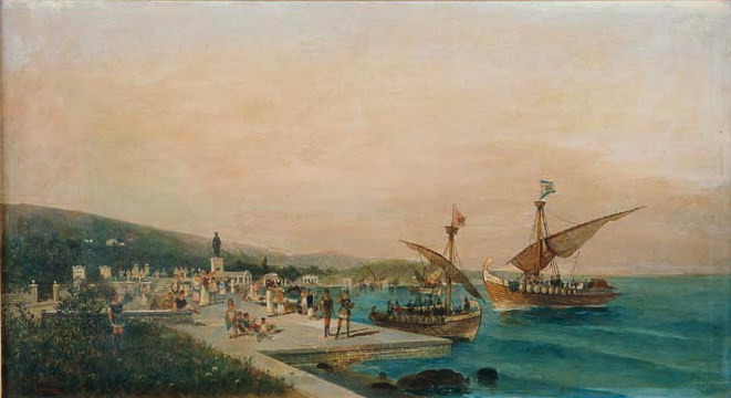 A painting in the Realist style - a view of a ship dock with small human figures, and two boats coming into port on a bright blue sea