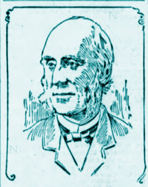 Simple etching of the bust of Thomas Bell, with receding light colored hair and a suit. He's looking to the viewer's left and seems peaceful.